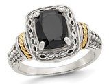 Black Onyx Ring in Rhodium Plated Sterling Silver with 14K Gold Accent