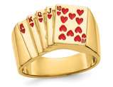 Men's 14K Yellow Gold Royal Flush In Hearts Ring