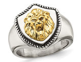 Men's Lion On Shield Antiqued Stainless Steel Ring