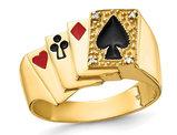 Men's 14K Yellow Gold Playing Card Suit Ring