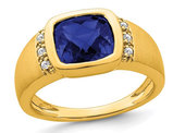 Mens 4.50 Carat (ctw) Lab Created Blue Sapphire Ring in 14K Yellow Gold with Diamonds