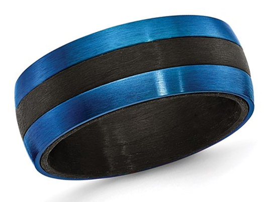 Men's Blue IP Plated Carbon Fiber Stainless Steel 8mm Band Ring
