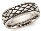 Men's Stainless Steel 8mm Polished Checkered Pattern Ring
