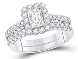 1.50 Carat (ctw G-H, I1-I2) Emerald-Cut Diamond Engagement Ring and Wedding Band in 14K White Gold