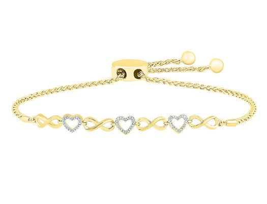 10K Yellow Gold Heart Bolo Bracelet 1/12 Carat (ctw)