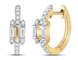 1/3 Carat (ctw G-H, I1-I2) Baguette Diamond Hoop Earrings in 14K Yellow Gold