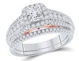 1.25 Carat (ctw G-H, I1) Princess-Cut Diamond Engagement Ring Bridal Wedding Set in 14K White Gold