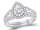 1.00 Carat (ctw G-H, I1-I2) Pear Drop Diamond Engagement Bridal Wedding Set in 14K White Gold