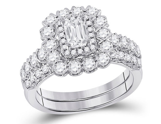 1.80 Carat (ctw G-H, I1-I2) Emerald-Cut Diamond Engagement Ring and Wedding Band in 14K White Gold