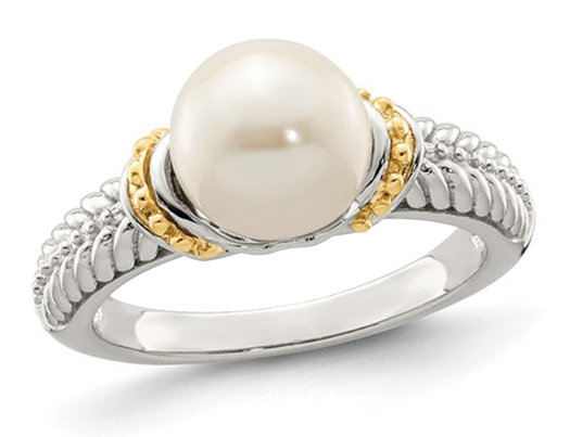 8-9mm Cultured Freshwater Pearl Ring in Sterling Silver with 14K Gold Accents