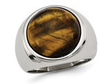 Mens Tiger's Eye Ring in Stainless Steel