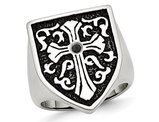 Men's Cross Antiqued Shield Stainless Steel Ring with Black Diamond
