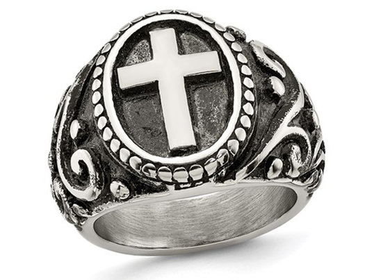 Men's Antiqued Stainless Steel Ring with Cross