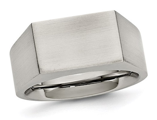 Men's Polished Stainless Steel Signet Ring