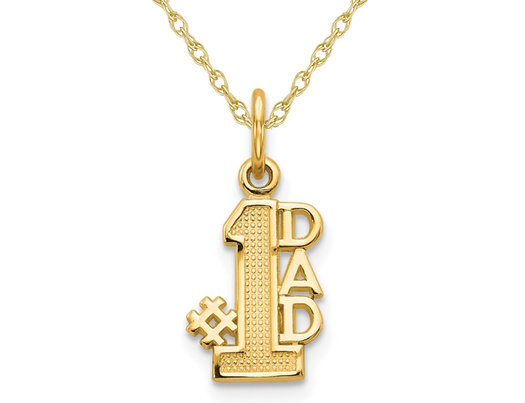 14K Yellow Gold  #1 DAD Charm Pendant Necklace with Chain
