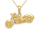 14K Yellow Gold 3-D Motorcycle Pendant Charm Necklace with Chain