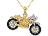 14K Yellow Gold Motorcycle with Rubber Tires Pendant Charm Necklace with Chain