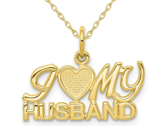 10K Yellow Gold I LOVE MY HUSBAND Charm Pendant Necklace with Chain