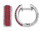 1/10 Carat (ctw) Natural Ruby and Diamond 1/4 Carat (ctw) Hoop Earrings in 14K White Gold