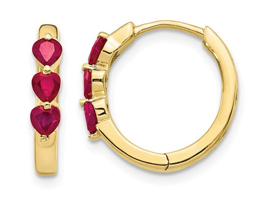 4/5 Carat (ctw) Lab Created Ruby Hoop Earrings in 10K Yellow Gold