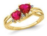 1.60 Carat (ctw) Lab Created Heart Ruby Ring in 10K Yellow Gold