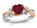 1.12 Carat (ctw) Lab Created Heart Ruby Ring in 14K White and Rose Pink  Gold