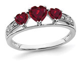 3/4 Carat (ctw) Lab Created Heart Ruby Ring in 14K White Gold