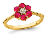 9/10 Carat (ctw) Natural Ruby Flower Ring in 14K Yellow Gold