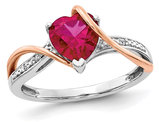 1.50 Carat (ctw) Ruby Heart Ring in 14K White and Rose Pink Gold