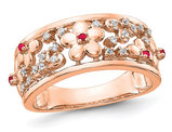 1/20 Carat (ctw) Natural Ruby Flower Ring in 14K Rose Pink Gold with Diamonds