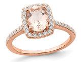 1.25 Carat (ctw) Morganite Halo Engagement Ring with Diamonds 3/10 Carat (ctw) in 14K Rose Pink Gold