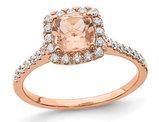 4/5 Carat (ctw) Morganite Halo Engagement Ring with Diamonds 1/4 Carat (ctw) in 14K Rose Pink Gold