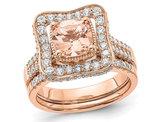 1.20 Carat (ctw) Morganite Halo Engagement Ring with Diamonds 7/8 Carat (ctw) in 14K Rose Pink Gold
