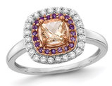 7/10 Carat (ctw) Morganite & Amethyst Ring in 14K White Gold with Diamonds 1/4 Carat (ctw)