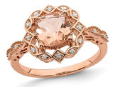 1.15 Carat (ctw) Morganite Halo Engagement Ring with Diamonds in 14K Rose Pink Gold