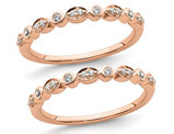 14K Rose Pink Gold 1/6 Carat (ctw) Diamond Set of 2 Wedding Band Rings