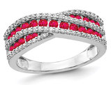 7/10 Carat (ctw) Crossover Ruby Ring in 14K White Gold with 1/3 Carat (ctw) Diamonds