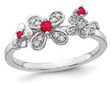 1/8 Carat (ctw) Natural Ruby Flower Ring in 14K White Gold with Diamonds