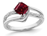 1.25 Carat (ctw) Lab Created Ruby Ring in 14K White Gold with Accent Diamonds