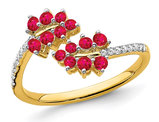1/2 Carat (ctw) Natural Ruby Vine Ring in 14K Yellow Gold with Diamonds