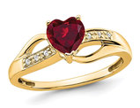 3/4 Carat (ctw) Lab Created Heart Ruby Ring in 14K Yellow Gold