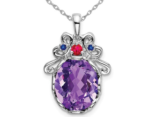 4.20 Carat (ctw) Amethyst and Sapphire Pendant Necklace in Sterling Silver with Chain
