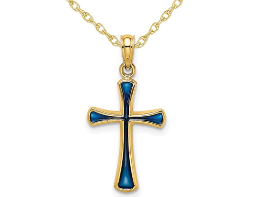14K Yellow Gold Cross Pendant Necklace with Blue Enamel and Chain