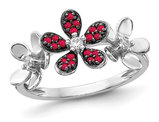 1.15 Carat (ctw) Natural Ruby Flower Ring in 14K White Gold