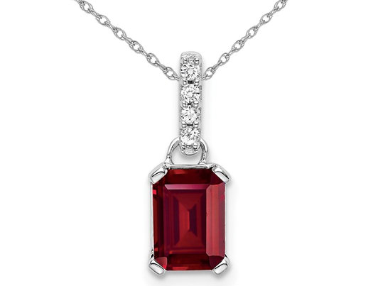 1.00 Carat (ctw) Lab Created Ruby Drop Pendant Necklace in 14K White Gold with Accent Diamonds and Chain