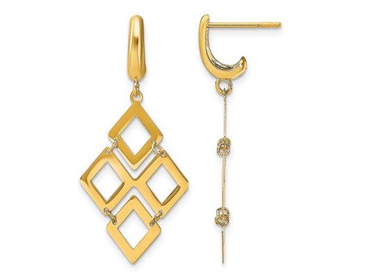 14K Yellow Gold Polished Diamond Shaped Dangle Earrings
