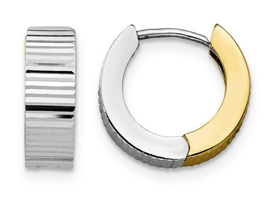 10K White and Yellow Gold Reversible Polished Hoop Huggy Earrings