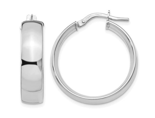 10K White Gold Polished Hoop Earrings 1 Inch (2mm)