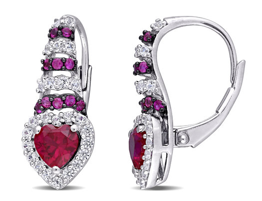 1.90 Carat (ctw) Lab Created Ruby & Created White Sapphire Heart Earrings in Sterling Silver