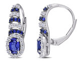 2.15 Carat (ctw) Lab Created Blue Sapphire & Created White Sapphire Heart Earrings in Sterling Silver